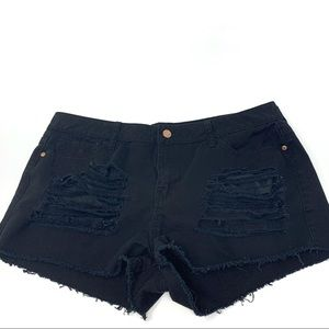 Guess Black Distressed Shorts Size 32 Waist